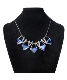 Üçgen Geometrik Stil Mavi Kristal Taşlar Abiye Kolyeler