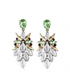 Yaz Tarzı Boho Kristal Uzun Küpe Parlak Beyaz Yeşil Kadınlar İçin Küpeler