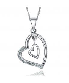 Yeni Model Çift Kalp Kolye Beyaz Kristal Taş Kolye Takı
