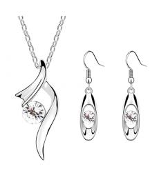 Yeni Model Gümüş Kaplama Kolye Küpe Taşlı Takılar Moda Takı Setleri