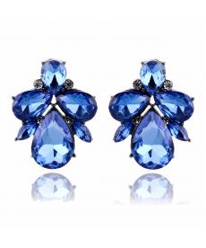 Yeni Model Şık Kristal Mavi Küpe Abiye Bayan Takı Modelleri