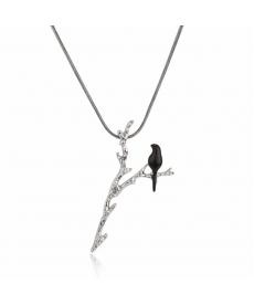 Yeni Sezon Dal Üzerinde Siyah Kuş Kolye Bayan Çoçuk Takı Aksesuar