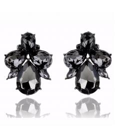Yeni Sezon Siyah Kristal Taşlı Küpe Bayan Takı Aksesuar Modelleri