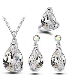 Yeni Sezon Takı Modelleri Beyaz Kristal Kolye Set Kolye Küpe Yüzük