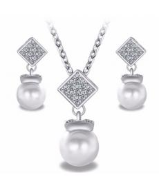 Yeni Tasarım Takı Setleri Söz Nişan Düğün Gümüş Renk Küpe Kolye Set