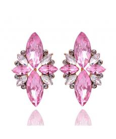 Yeni Zarif Kristal Pembe Küpe Opal Taşlı Saplama En Güzel Küpe Modelleri