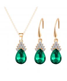 Yeşil Avusturya Crystal Takı Setleri 18K Altın Kaplama Ucuz Hediyeler