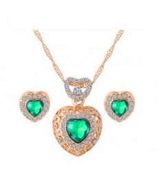 Yeşil Taş Kalp Kolye Küpe Takı Seti Altın Renk Kristal Düğün Nişan Takıları