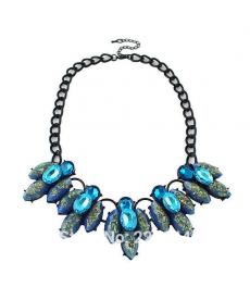 Moda 2019 Mavi Kristal Çiçek Yaka Kolye Bayan Takı Aksesuar