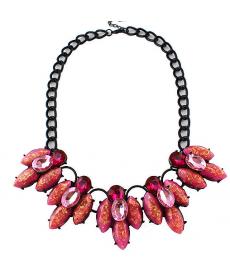 Moda 2019 Pembe Kristal Çiçek Yaka Kolye Bayan Takı Aksesuar