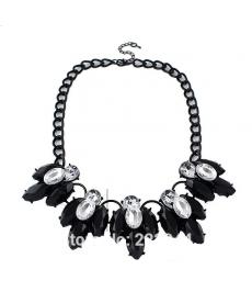 Moda 2019 Siyah Kristal Çiçek Yaka Kolye Bayan Takı Aksesuar