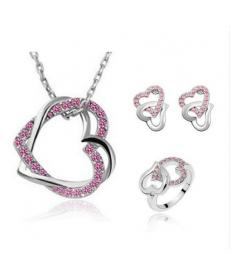 Pembe Çift Kalp Kolye Takı Seti Gümüş Kaplama Sevgililer Günü Hediyeleri