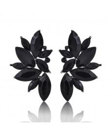Siyah Taşlı Küpe Avrupa Moda 2019 Siyah Abiye Küpe Modelleri