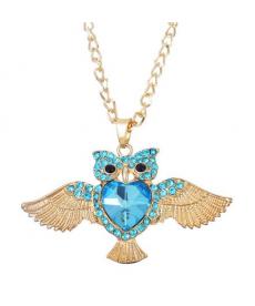Yeni Model Baykuş Kolye Mavi Kristal Uzun Zincir Baykuş Kolye Modelleri 2019