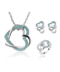 Yeni Sezon Çift Kalp Kolye Takı Seti Gümüş Kaplama Sevgililer Günü Hediyeleri