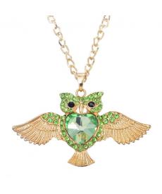 Yeşil Taşlı Baykuş Kolye Uzun Zincir Altın Rengi Abiye Kolye