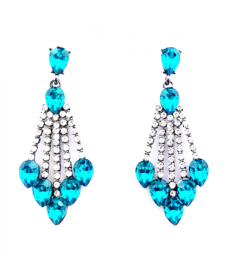Deniz Mavi Abiye Küpe Yeni Tasarım Mavi Taşlı Küpe Modelleri 2019
