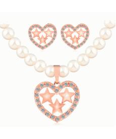 Kalp Takı Setleri Rose Gold Renk İmitasyon İnci Kolye Küpe Nişan Gelin Setleri