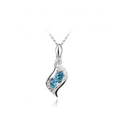 Mavi Taşlı Gümüş Kaplama Yeni Sezon Kristal Abiye Kolye Modelleri