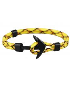 Sarı Siyah Halat Siyah Çapa Bileklik İki Katman Yazlık Bileklik Modelleri