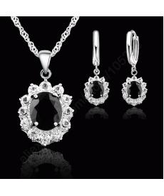 Yeni Model 925 Gümüş Kaplama Siyah Taşlı Kristal Düğün Nişan Kolye Küpe