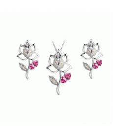 Yeni Sezon Crystal Takılar Pembe Gül Kolye ve Küpe Bayan Accessories