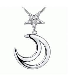 Ay Yıldız Kolye Yeni Model Gümüş Kaplama Ay Yıldız Kristal Kolye