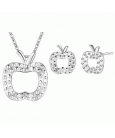 Elma Şekli Gümüş Kaplama Şık Küpe ve Kolye Takı Seti