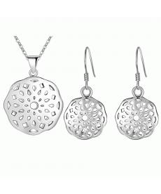 Geometrik Model Takı Seti Gümüş Kaplama Kolye ve Küpe Doğum Günü Hediyeleri