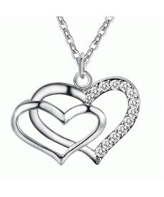 İki Kalp Gümüş Kaplama Kolye Takı Düğün Söz Nişan Kolye Modelleri