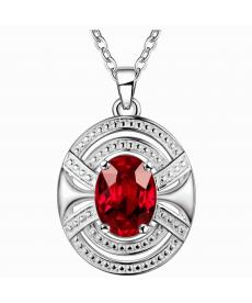 Kırmızı Kristal Damla Kolye Geometrik Gümüş Kaplama Kırmızı Taş Kolye