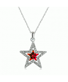 Kırmızı Taşlı Yıldız Kolye Tibet Gümüş Kaplama Kolye Modelleri