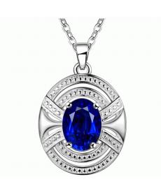 Mavi Kristal Damla Kolye Geometrik Gümüş Kaplama 2019 Moda Yüksek Kalite Kolye
