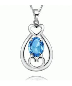Mavi Taşlı Kolye Gümüş Kaplama Mavi Kristal Taşlı 2019 Kalp Kolye Modelleri