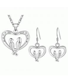 Romantik Aşk Kalp İçinde Çift Kuş Kolye ve Küpe Bayan Takı Aksesuar Set