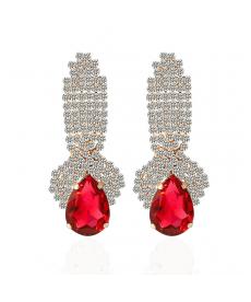 Şık Abiye Moda Takılar Kristal Kırmızı Küpe Su Damlası Küpeler