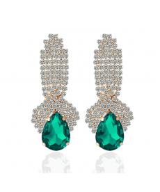 Şık Zarif Abiye Moda Küpeler Kristal Yeşil Su Damlası Küpe