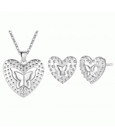 Yeni Model Kalp İçinde Kelebek Takı Seti Gümüş Kaplama Takı Akseauar