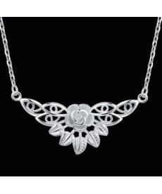 Yeni Tasarım Çiçek Motifli Kolye 925 Gümüş Kaplama Kolye Aksesuar