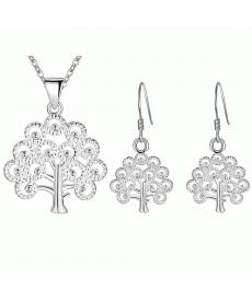 Yeni Tasarım Sanslı Ağaç Takı Seti Gümüş Kaplama Kolye ve Küpe Akseauar