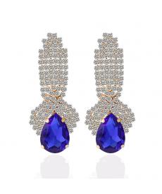 Zarif Abiye Moda Takılar Kristal Safir Rengi Küpe Su Damlası Küpeler