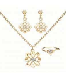 Çiçek Şekli Kolye Küpe Yüzük Takı Seti Kristal Düğün Gelin Takı Setleri