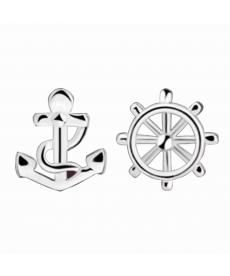 Gümüş Kaplama Dümen Çıpa Küpe Yeni Sezon Takı Modelleri