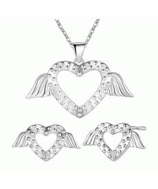 Gümüş Kaplama Romantik Melek Kanatları Takı Seti Küpe Kolye Güzel Aksesuarlar