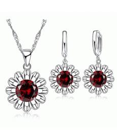 Kırmızı Kristal Taşlı Ayçiçeği Gümüş Kaplama Maxi Takı Seti Choker Kolye Küpe