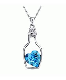 Mavi Kalp Taşlı Kolye Moda Kristal Şişe İçinde Kalp Choker Kolye
