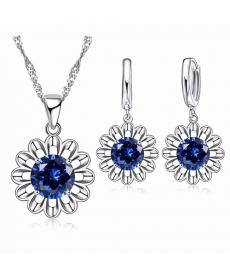Mavi Kristal Taşlı Ayçiçeği Gümüş Kaplama Maxi Takı Seti Choker Kolye Küpe Set