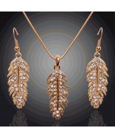 Moda 2019 Takılar Altın Kaplama Tüy Tasarım Avusturya Crystal Takı Setleri
