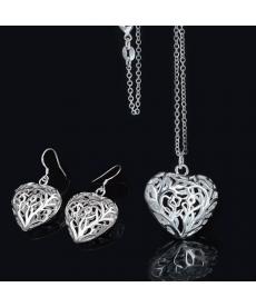 Moda 2019 Yeni Model Takılar Gümüş Kaplama Kalp Kolye ve Küpe Takı Setleri