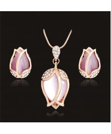 Pembe Doğal Taş Opal Gül Çiçek Takı Söz Nişan Düğün Takı Setleri